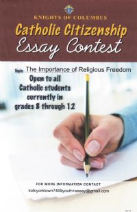 catholic essay competition Scholarship essay contests an international grhs essay contest, sponsored by the germans from russia heritage society, headquartered in bismarck.